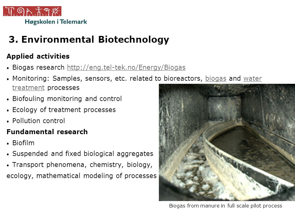 3. Environmental Biotechnology Applied activities • Biogas research http://eng.tel-tek.no/Energy/Biogashttp://eng.tel-tek.no/Energy/Biogas • Monitorin