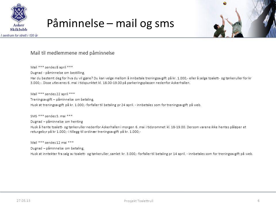 Påminnelse – mail og sms Mail til medlemmene med påminnelse Mail *** sendes 8 april *** Dugnad - påminnelse om bestilling, Har du bestemt deg for hva