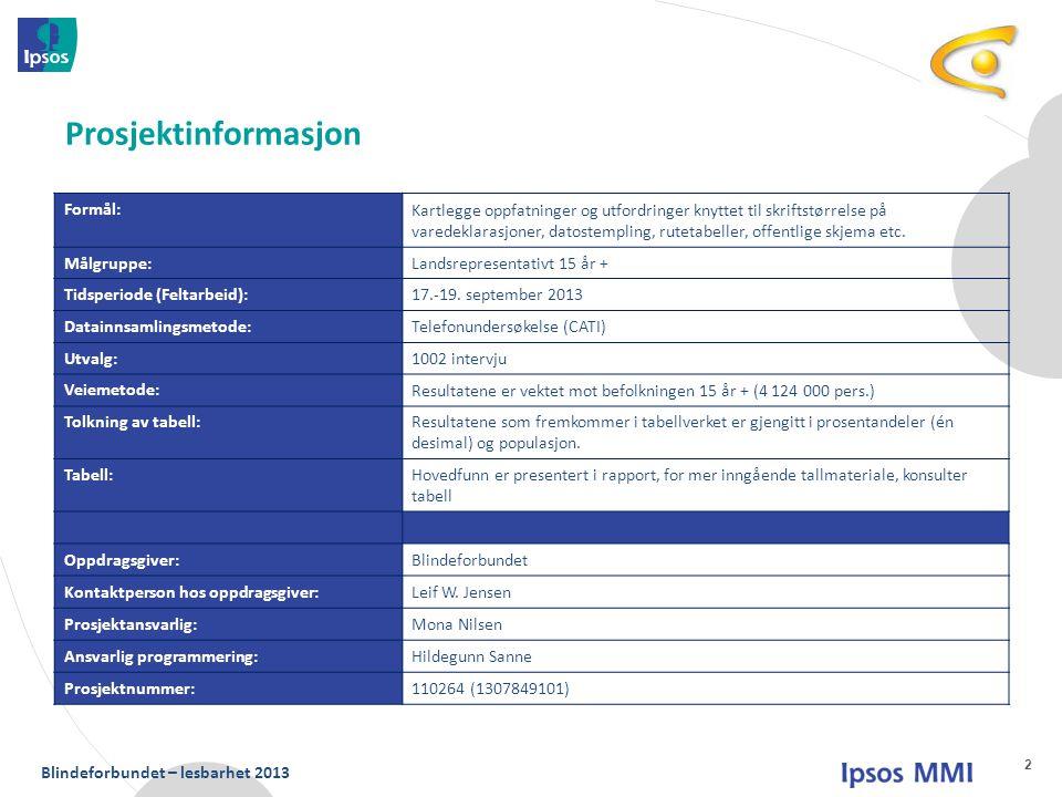 Blindeforbundet – lesbarhet 2013 Formål: Kartlegge oppfatninger og utfordringer knyttet til skriftstørrelse på varedeklarasjoner, datostempling, rutet
