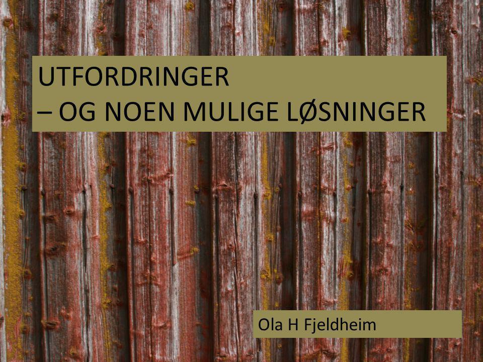 UTFORDRINGER – OG NOEN MULIGE LØSNINGER Ola H Fjeldheim
