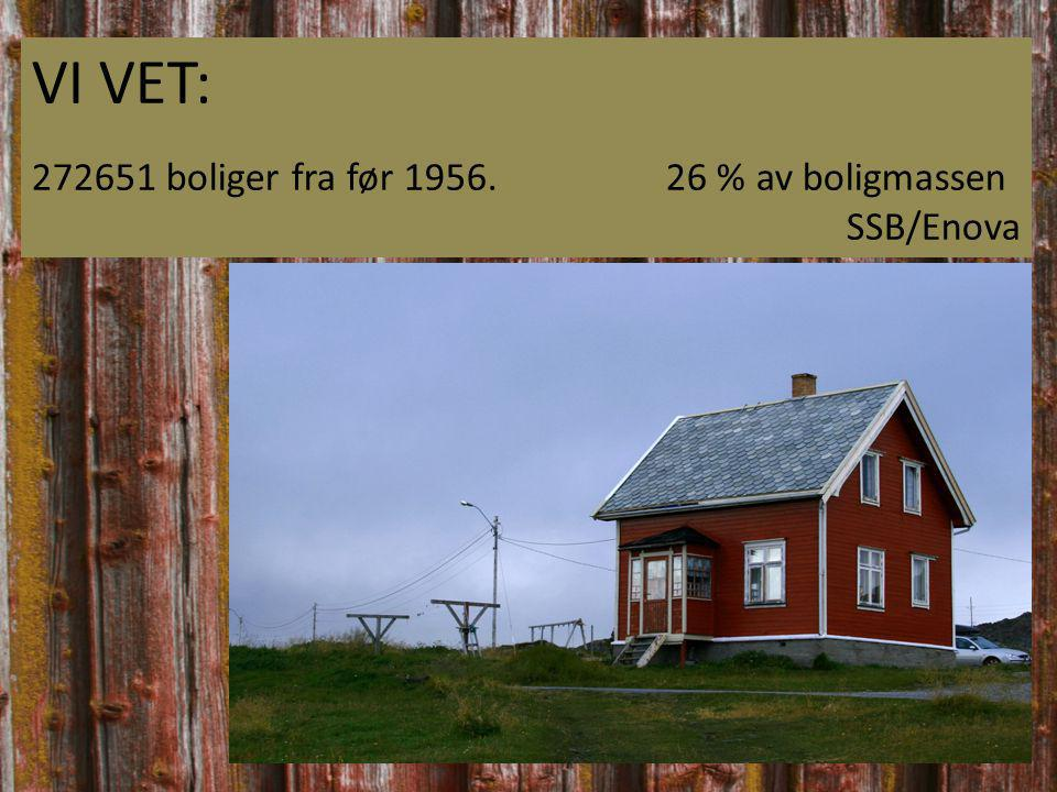 VI VET: 272651 boliger fra før 1956.26 % av boligmassen SSB/Enova