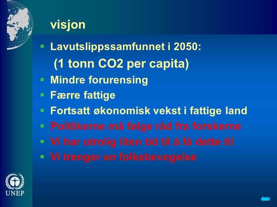 visjon  Lavutslippssamfunnet i 2050: (1 tonn CO2 per capita)  Mindre forurensing  Færre fattige  Fortsatt økonomisk vekst i fattige land  Politik