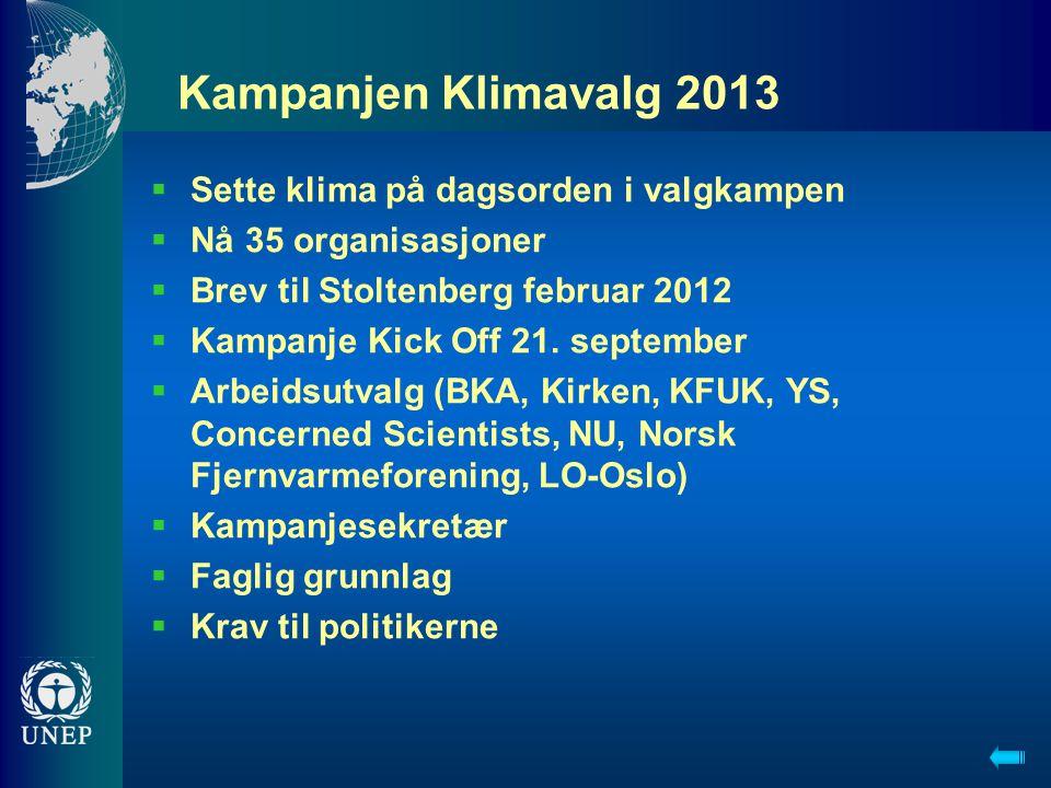 Kampanjen Klimavalg 2013  Sette klima på dagsorden i valgkampen  Nå 35 organisasjoner  Brev til Stoltenberg februar 2012  Kampanje Kick Off 21. se