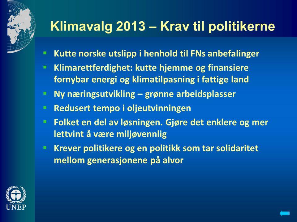 Klimavalg 2013 – Krav til politikerne  Kutte norske utslipp i henhold til FNs anbefalinger  Klimarettferdighet: kutte hjemme og finansiere fornybar