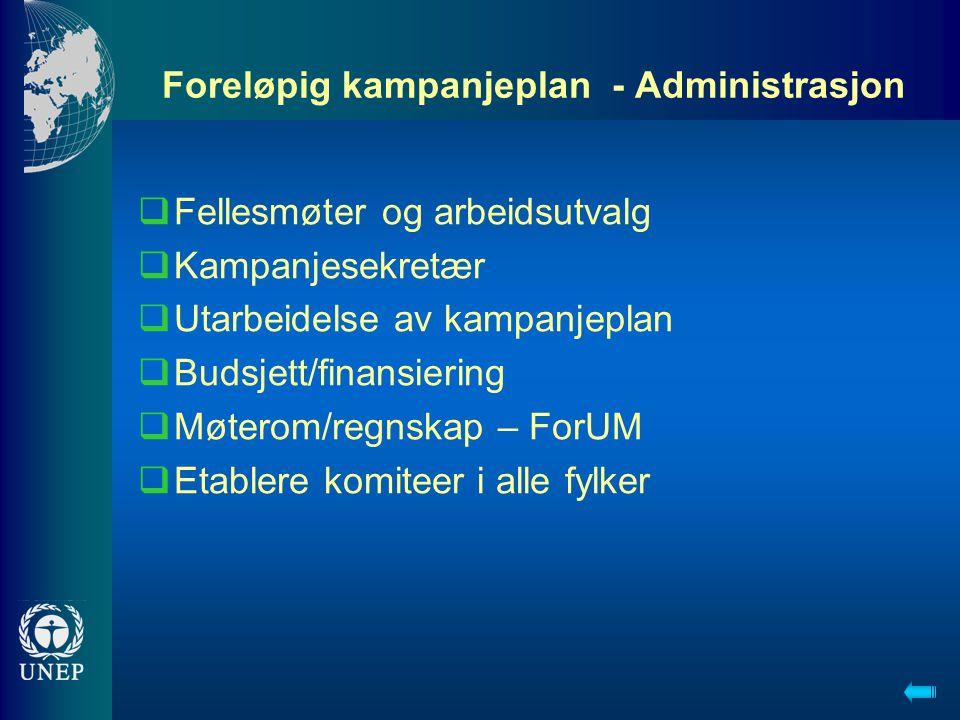 Foreløpig kampanjeplan - Administrasjon  Fellesmøter og arbeidsutvalg  Kampanjesekretær  Utarbeidelse av kampanjeplan  Budsjett/finansiering  Møt