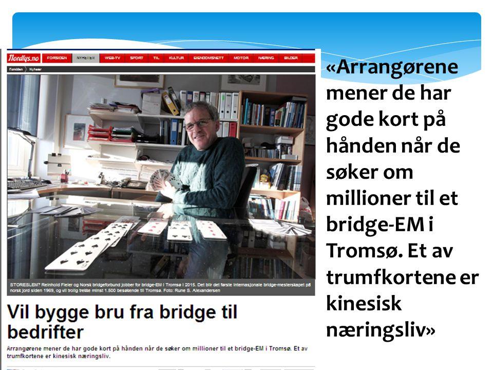 «Arrangørene mener de har gode kort på hånden når de søker om millioner til et bridge-EM i Tromsø. Et av trumfkortene er kinesisk næringsliv»
