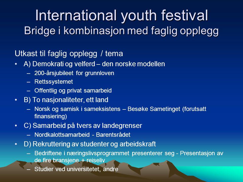 International youth festival Bridge i kombinasjon med faglig opplegg Utkast til faglig opplegg / tema •A) Demokrati og velferd – den norske modellen –