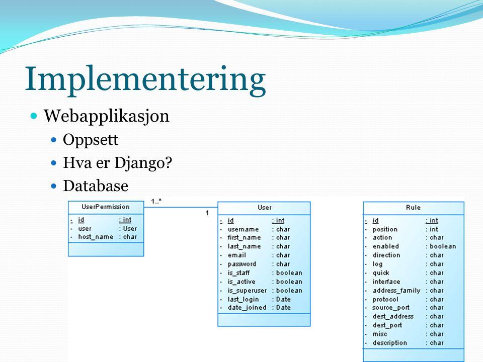 Implementering  Webapplikasjon  Oppsett  Hva er Django?  Database