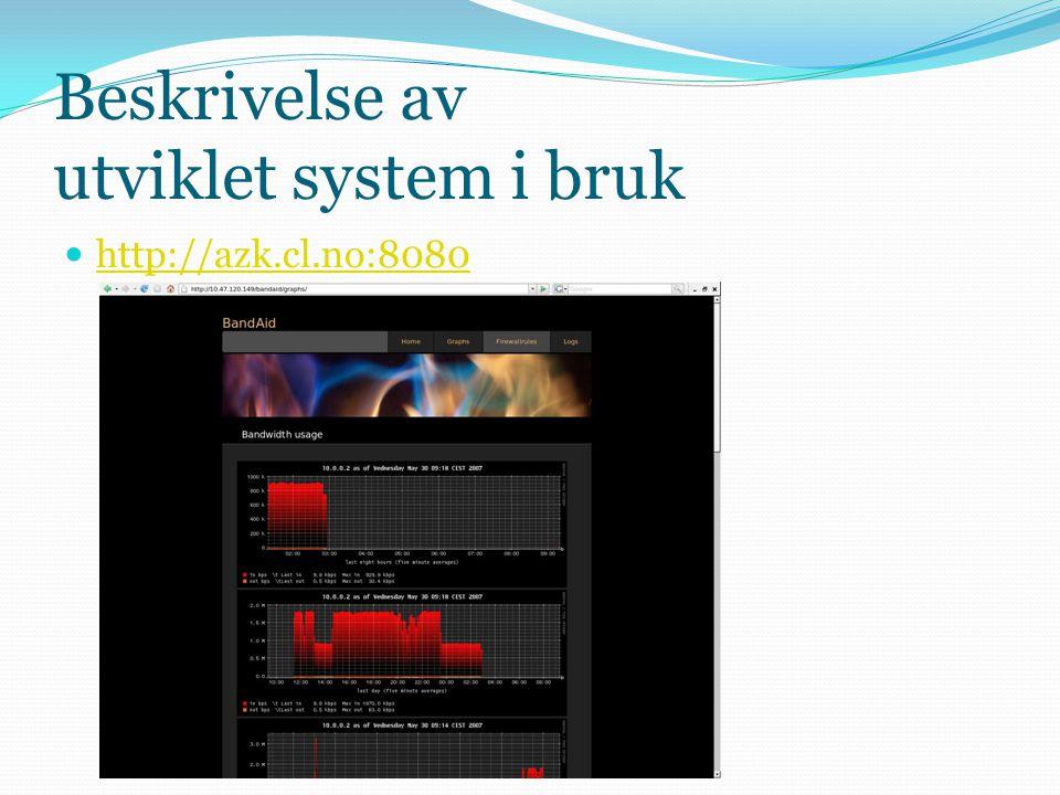 Beskrivelse av utviklet system i bruk  http://azk.cl.no:8080 http://azk.cl.no:8080