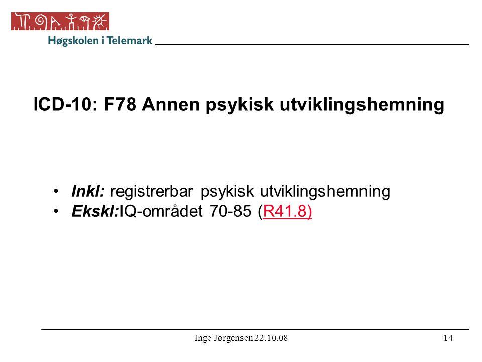 Inge Jørgensen 22.10.0814 ICD-10: F78 Annen psykisk utviklingshemning •Inkl: registrerbar psykisk utviklingshemning •Ekskl:IQ-området 70-85 (R41.8)R41