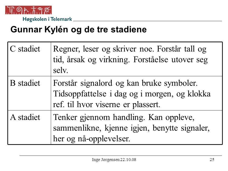 Inge Jørgensen 22.10.0825 Gunnar Kylén og de tre stadiene Tenker gjennom handling. Kan oppleve, sammenlikne, kjenne igjen, benytte signaler, her og nå