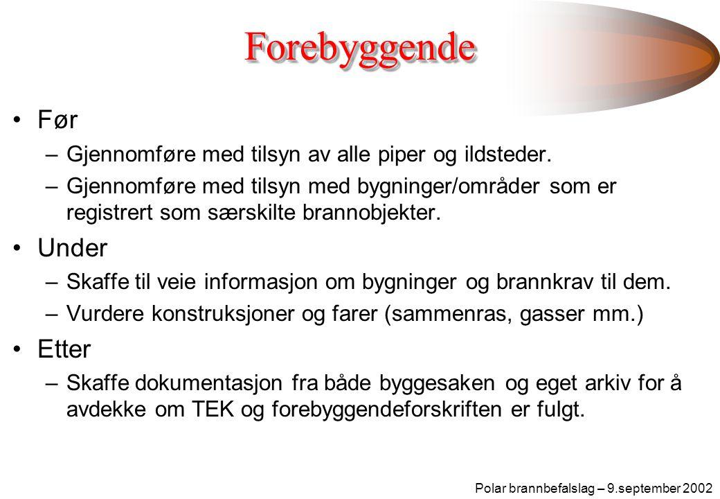 Polar brannbefalslag – 9.september 2002ForebyggendeForebyggende •Før –Gjennomføre med tilsyn av alle piper og ildsteder.