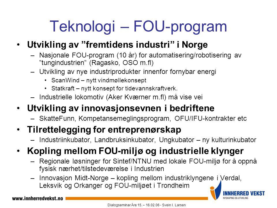 """Dialogseminar Åre 15. – 16.02.06 - Svein I. Larsen Teknologi – FOU-program •Utvikling av """"fremtidens industri"""" i Norge –Nasjonale FOU-program (10 år)"""