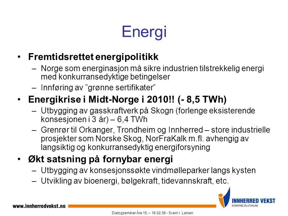 Dialogseminar Åre 15. – 16.02.06 - Svein I. Larsen Energi •Fremtidsrettet energipolitikk –Norge som energinasjon må sikre industrien tilstrekkelig ene