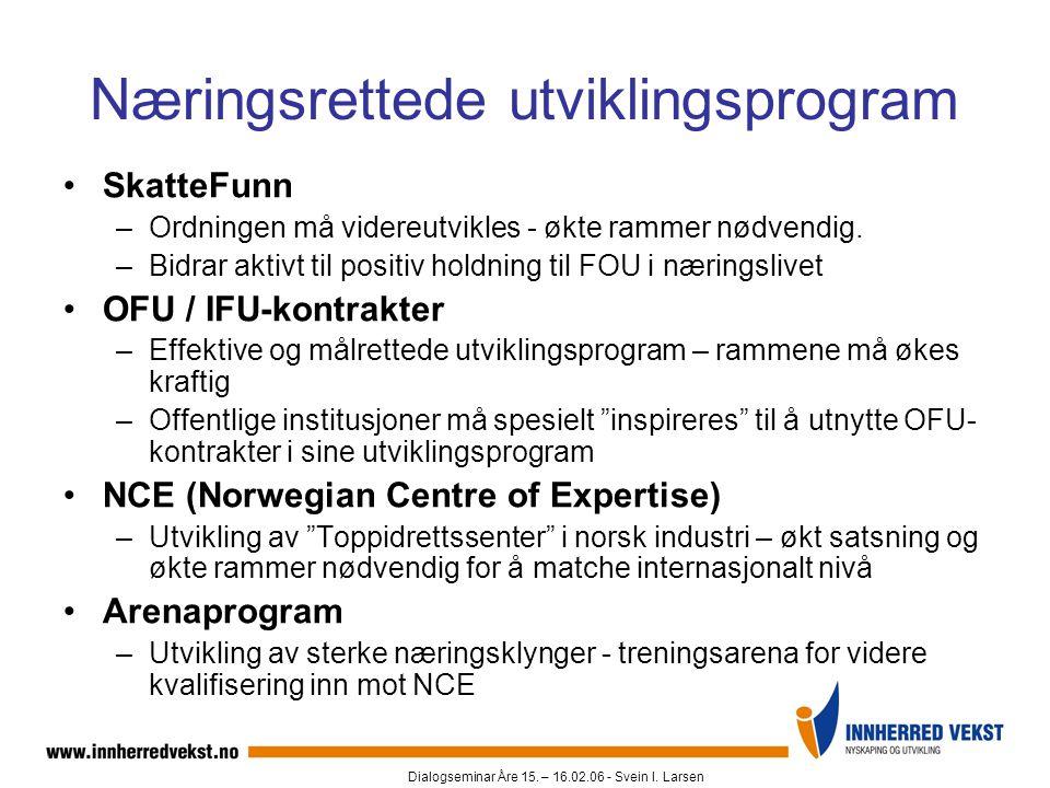Dialogseminar Åre 15. – 16.02.06 - Svein I. Larsen Næringsrettede utviklingsprogram •SkatteFunn –Ordningen må videreutvikles - økte rammer nødvendig.