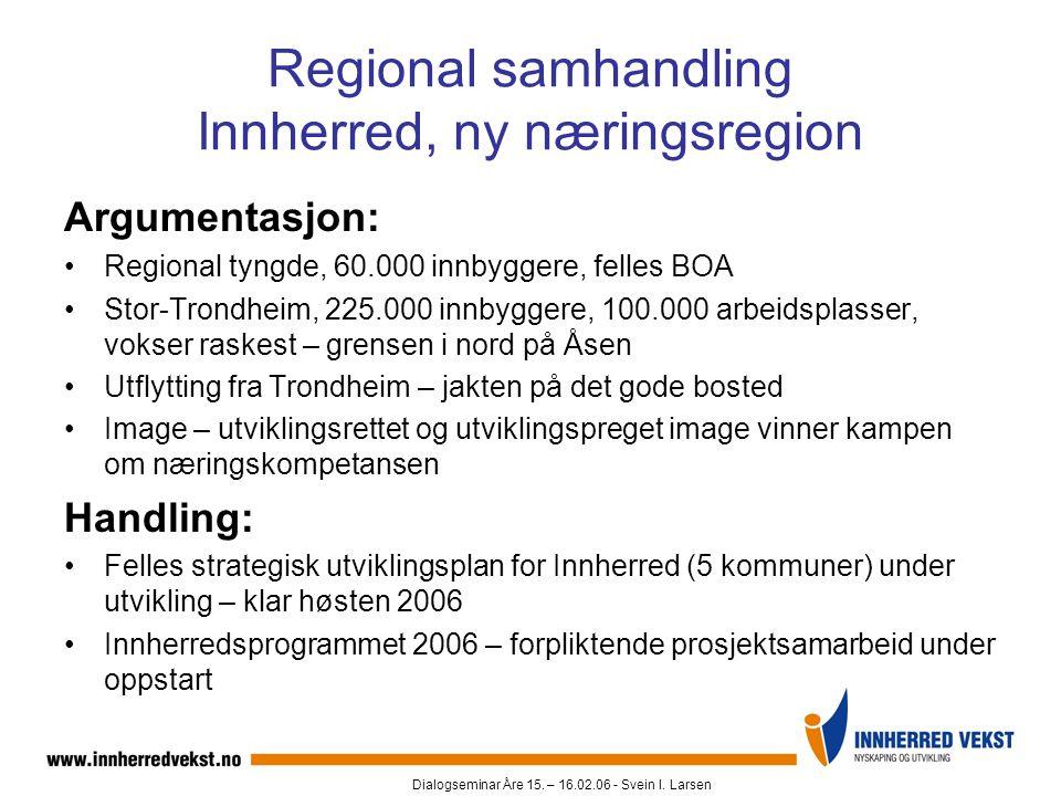 Dialogseminar Åre 15. – 16.02.06 - Svein I. Larsen Regional samhandling Innherred, ny næringsregion Argumentasjon: •Regional tyngde, 60.000 innbyggere