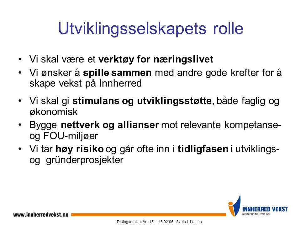 Dialogseminar Åre 15. – 16.02.06 - Svein I. Larsen Utviklingsselskapets rolle •Vi skal være et verktøy for næringslivet •Vi ønsker å spille sammen med
