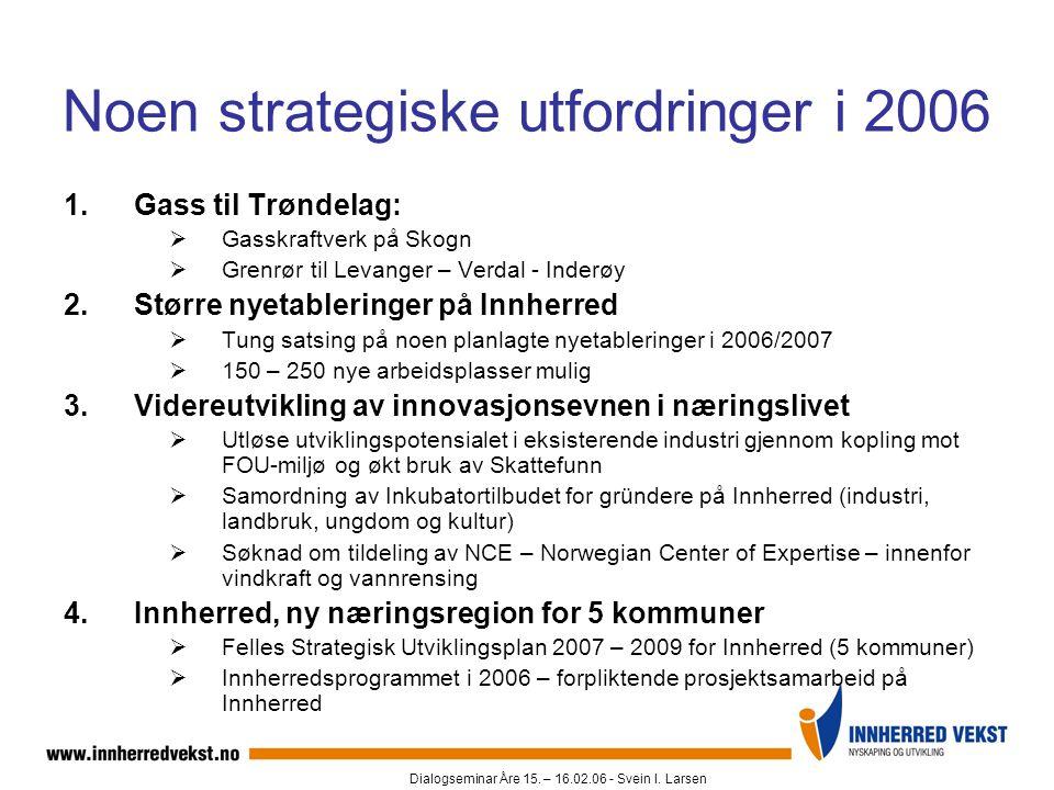 Dialogseminar Åre 15. – 16.02.06 - Svein I. Larsen Noen strategiske utfordringer i 2006 1.Gass til Trøndelag:  Gasskraftverk på Skogn  Grenrør til L