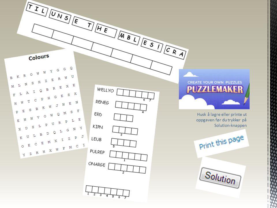 Husk å lagre eller printe ut oppgaven før du trykker på Solution-knappen