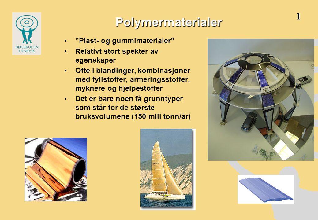 Polymermaterialer • Plast- og gummimaterialer •Relativt stort spekter av egenskaper •Ofte i blandinger, kombinasjoner med fyllstoffer, armeringsstoffer, myknere og hjelpestoffer •Det er bare noen få grunntyper som står for de største bruksvolumene (150 mill tonn/år) 1