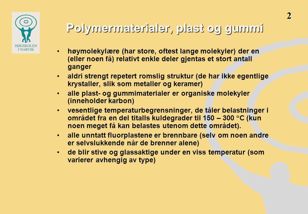 Polymer •bygget opp av monomer-molekyler •disse er organiske stoffer •dvs.