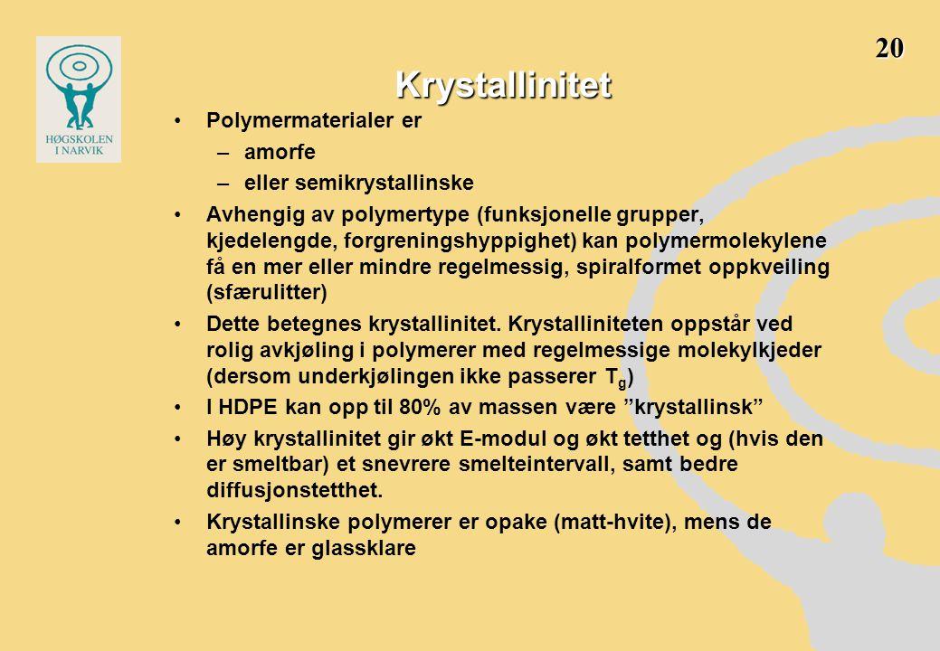Krystallinitet •Polymermaterialer er –amorfe –eller semikrystallinske •Avhengig av polymertype (funksjonelle grupper, kjedelengde, forgreningshyppighet) kan polymermolekylene få en mer eller mindre regelmessig, spiralformet oppkveiling (sfærulitter) •Dette betegnes krystallinitet.