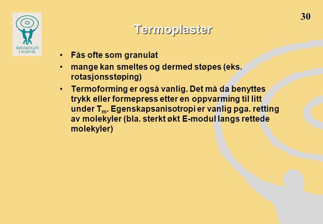 Termoplaster •Fås ofte som granulat •mange kan smeltes og dermed støpes (eks.