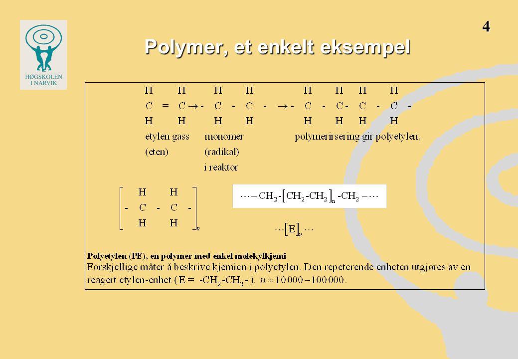 •Forkortelse PE •lange, lineære eller forgrenede kjeder •høymolekylært, molekylvekt 28∙10000 = 280000 •alltid stor spredning i molekylvekt •gjennom reaktorprosessen søker man å regulere –middelmolekyvekt –spredningen av molekylvekten –graden av forgreninger •dette av hensyn til produktets –reologiske egenskaper (under utstøping) –mekaniske egenskaper – som produkt 5