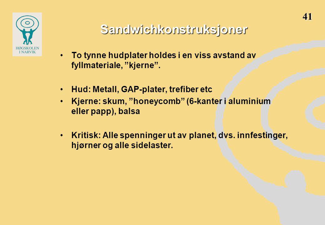 Sandwichkonstruksjoner •To tynne hudplater holdes i en viss avstand av fyllmateriale, kjerne .