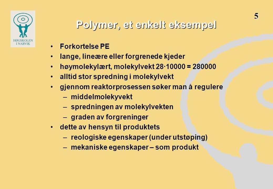 Polymerers egenskaper •Lav Densitet800 – 2000 kg/m 3 •Strekkfastheten er lav - moderat10 – 100 MPa •Lav E-modul uten spesielle tiltakunder 4 GPa •Snevert brukstemperatur under belastning-50 – +200  C (bildekk -80  C, Høytemperaturpolymerer +270  C) •Svært varierende materialpris fra 3 x oljeprisen (PVC, PP) til kostbare spesialmaterialer.