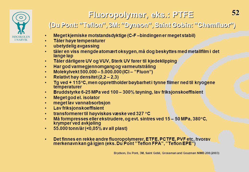 Fluoropolymer, eks.: PTFE ( Du Pont: Teflon , 3M: Dyneon , Saint Gobin: Chemfluor ) •Meget kjemiske motstandsdyktige (C-F –bindingen er meget stabil) •Tåler høye temperaturer •ubetydelig avgassing •tåler en viss mengde atomært oksygen, må dog beskyttes med metallfilm i det lange løp •Tåler dårligere UV og VUV, Sterk UV fører til kjedeklipping •Har god varmegjennomgang og varmeutstråling •Molekylvekt 500.000 – 5.000.000 (ICI – Fluon ) •Relativt høy densitet (2,2 – 2,3) •Tg ved + 115  C, men opprettholder bøybarhet i tynne filmer ned til kryogene temperaturer •Bruddstyrke 6-25 MPa ved 100 – 300% tøyning, lav friksjonskoeffisient •Meget god el.