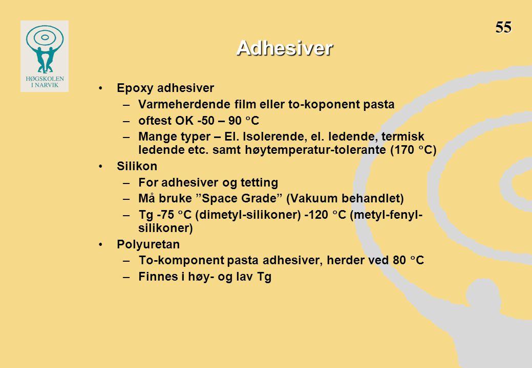 Adhesiver •Epoxy adhesiver –Varmeherdende film eller to-koponent pasta –oftest OK -50 – 90  C –Mange typer – El.