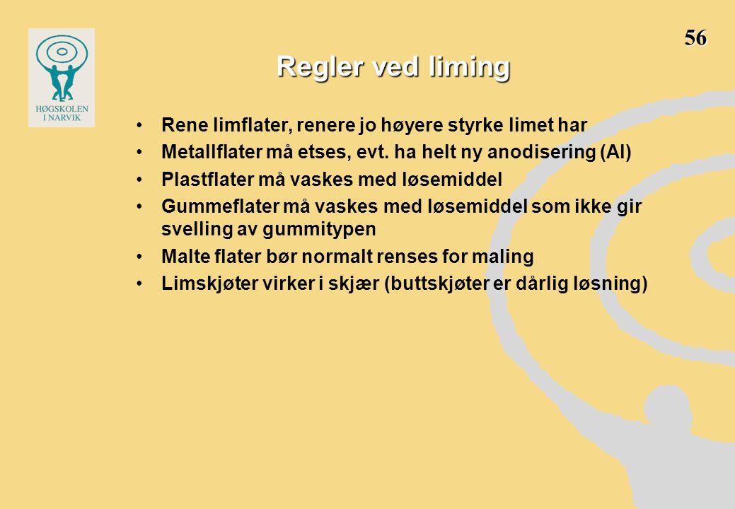 Regler ved liming •Rene limflater, renere jo høyere styrke limet har •Metallflater må etses, evt.