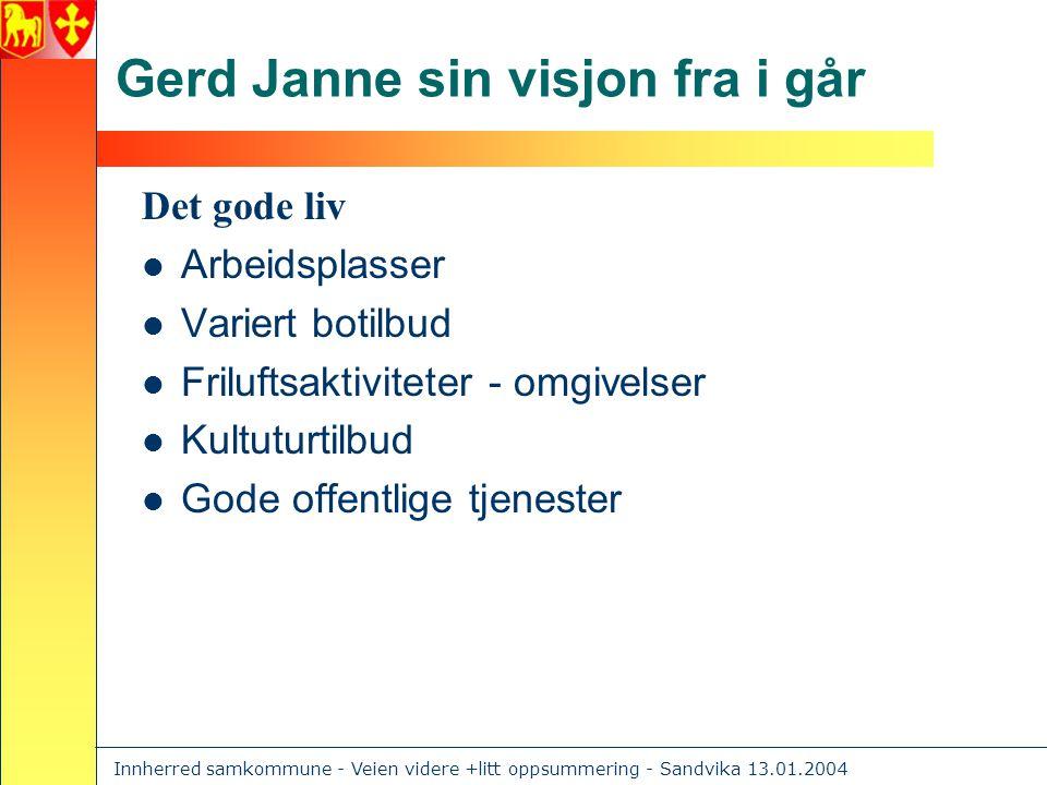 Innherred samkommune - Veien videre +litt oppsummering - Sandvika 13.01.2004 Hun hadde også disse visjonene  Velfungerende primærkommuner med virksomhetsområder som tar utgangspunkt i brukeren.