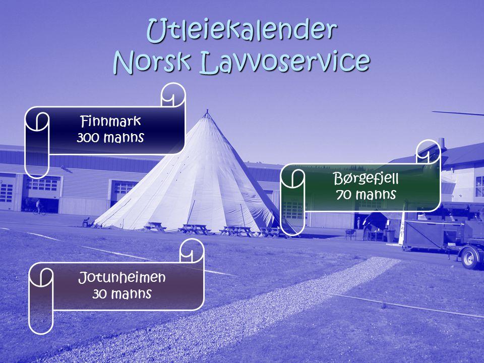 Utleiekalender Norsk Lavvoservice Finnmark 300 manns Børgefjell 70 manns Jotunheimen 30 manns