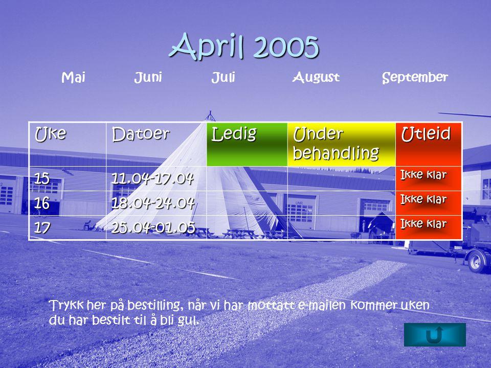 April 2005 UkeDatoerLedig Under behandling Utleid 1511.04-17.04 Ikke klar 1618.04-24.04 1725.04-01.05 Trykk her på bestilling, når vi har mottatt e-mailen kommer uken du har bestilt til å bli gul.