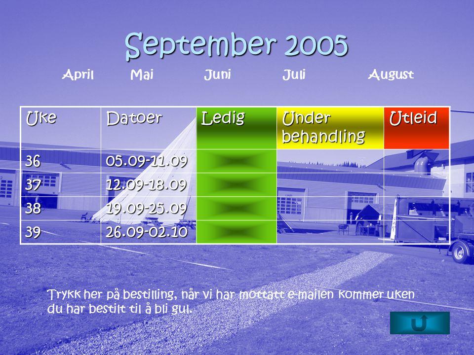 September 2005 Trykk her på bestilling, når vi har mottatt e-mailen kommer uken du har bestilt til å bli gul.