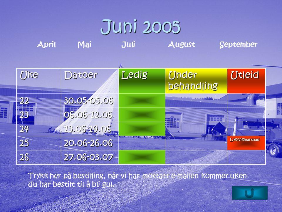 Juni 2005 Trykk her på bestilling, når vi har mottatt e-mailen kommer uken du har bestilt til å bli gul.