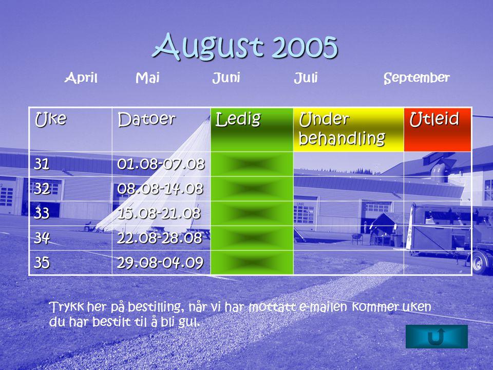 August 2005 Trykk her på bestilling, når vi har mottatt e-mailen kommer uken du har bestilt til å bli gul.
