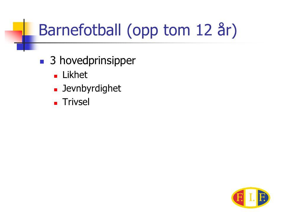 Barnefotball (opp tom 12 år)  3 hovedprinsipper  Likhet  Jevnbyrdighet  Trivsel