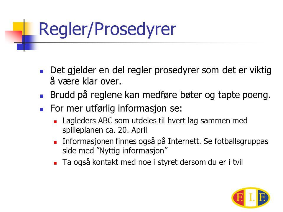Regler/Prosedyrer  Det gjelder en del regler prosedyrer som det er viktig å være klar over.