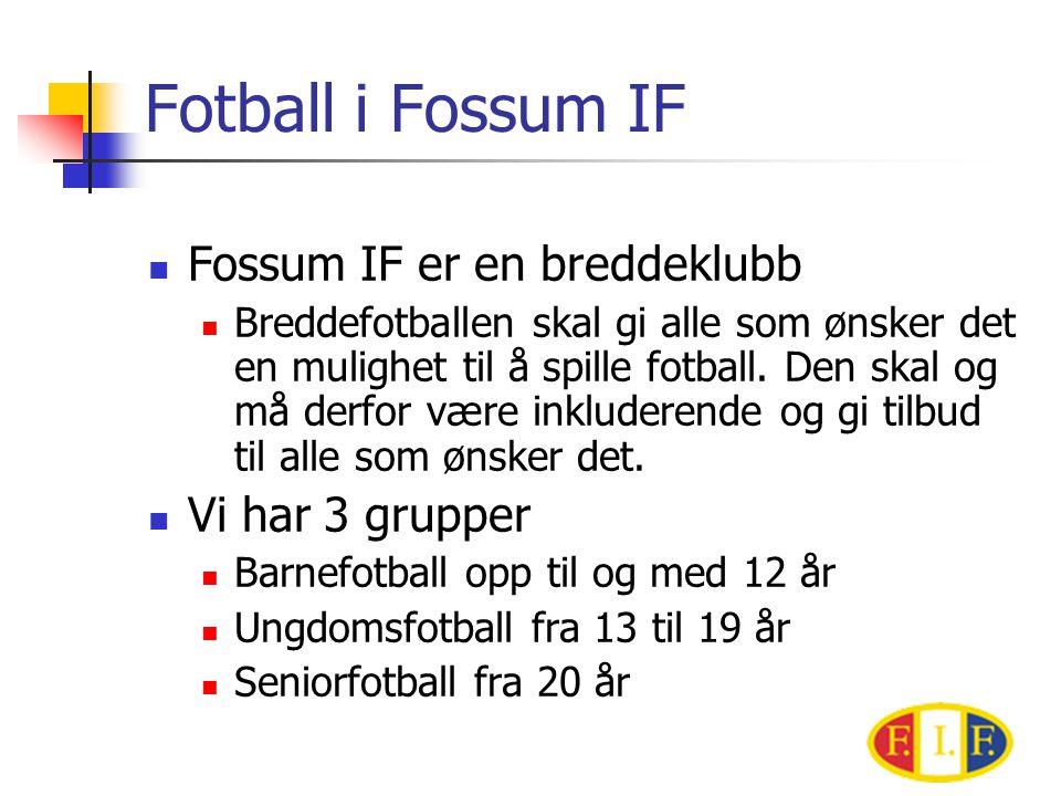 Fotball i Fossum IF  Fossum IF er en breddeklubb  Breddefotballen skal gi alle som ønsker det en mulighet til å spille fotball.