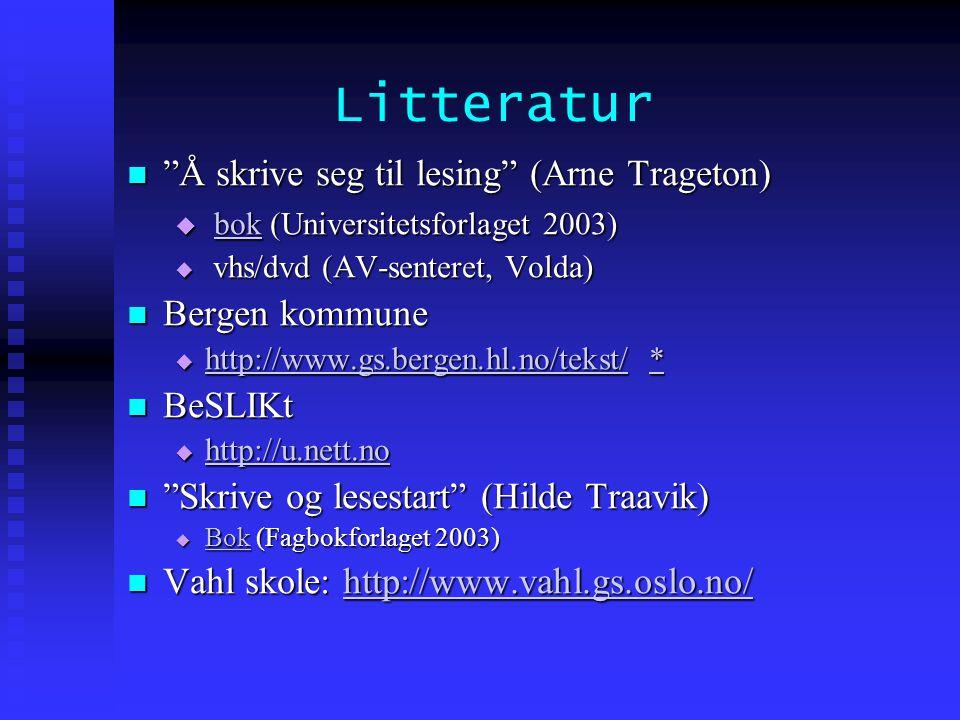 """Litteratur  """"Å skrive seg til lesing"""" (Arne Trageton)  bok (Universitetsforlaget 2003) bok  vhs/dvd (AV-senteret, Volda)  Bergen kommune  http://"""