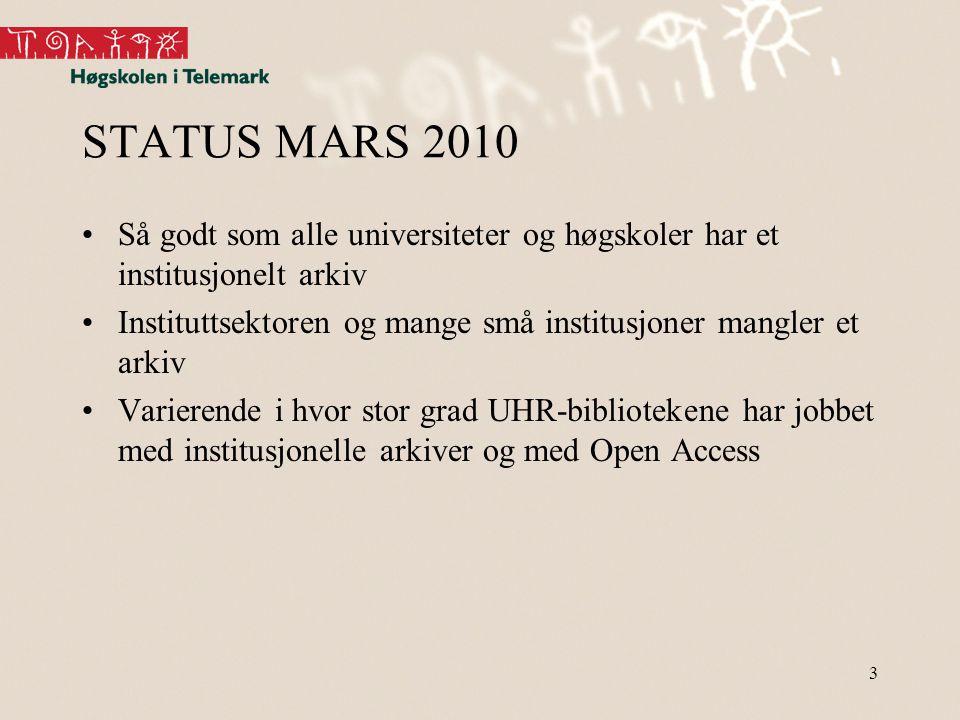 3 STATUS MARS 2010 •Så godt som alle universiteter og høgskoler har et institusjonelt arkiv •Instituttsektoren og mange små institusjoner mangler et arkiv •Varierende i hvor stor grad UHR-bibliotekene har jobbet med institusjonelle arkiver og med Open Access