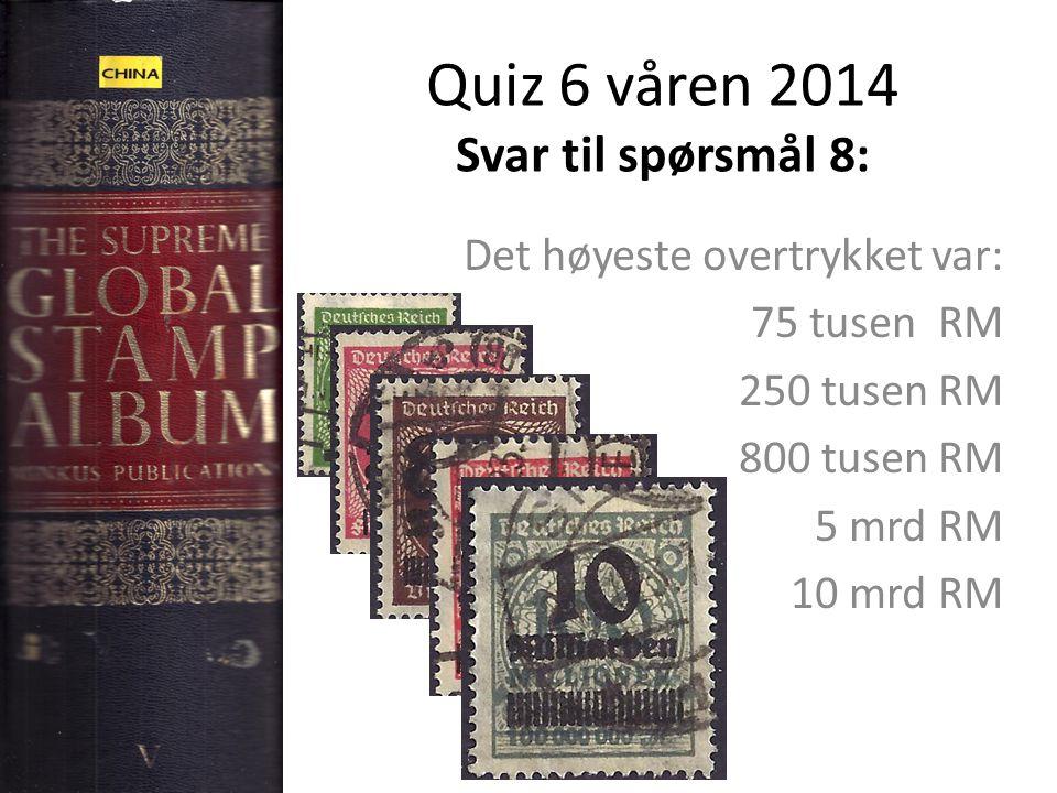 Quiz 6 våren 2014 Svar til spørsmål 8: Det høyeste overtrykket var: 75 tusen RM 250 tusen RM 800 tusen RM 5 mrd RM 10 mrd RM