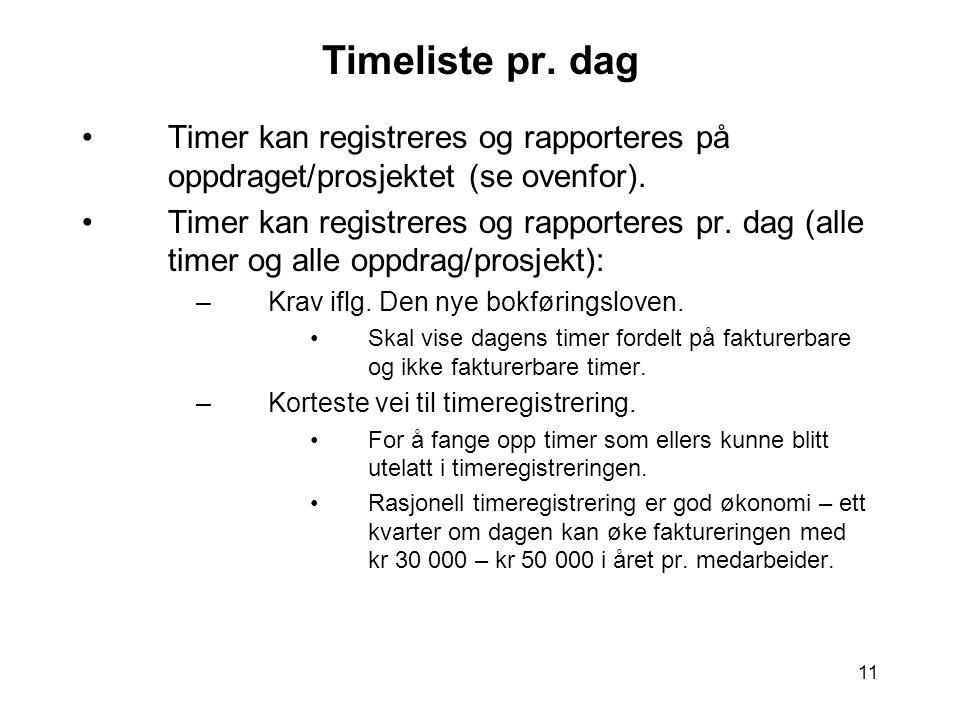 11 Timeliste pr. dag •Timer kan registreres og rapporteres på oppdraget/prosjektet (se ovenfor). •Timer kan registreres og rapporteres pr. dag (alle t