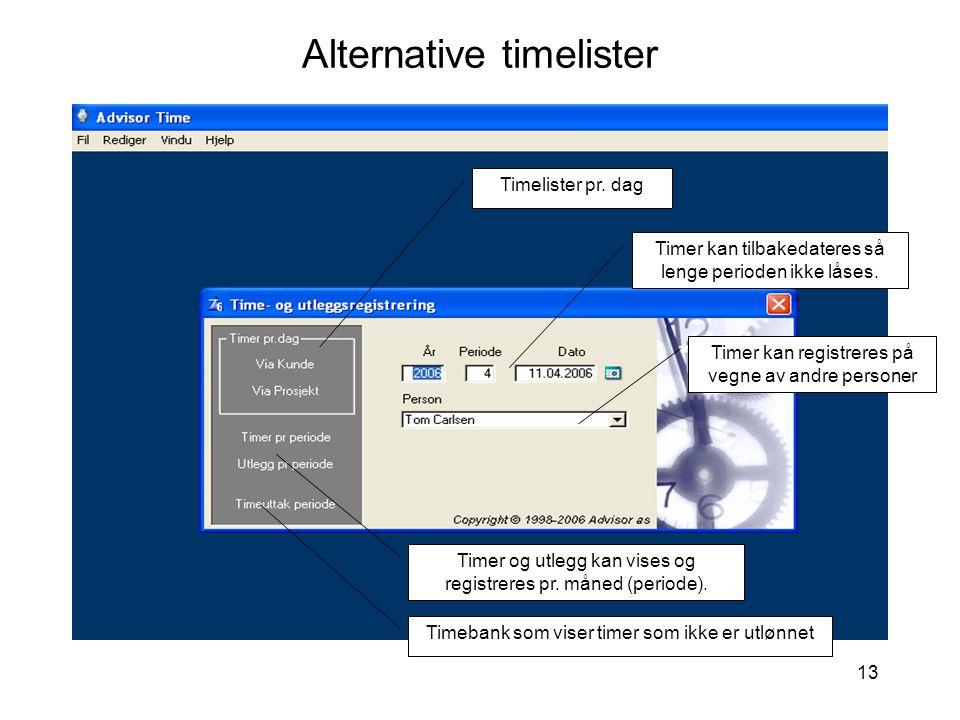 13 Alternative timelister Timer kan tilbakedateres så lenge perioden ikke låses. Timer kan registreres på vegne av andre personer Timer og utlegg kan