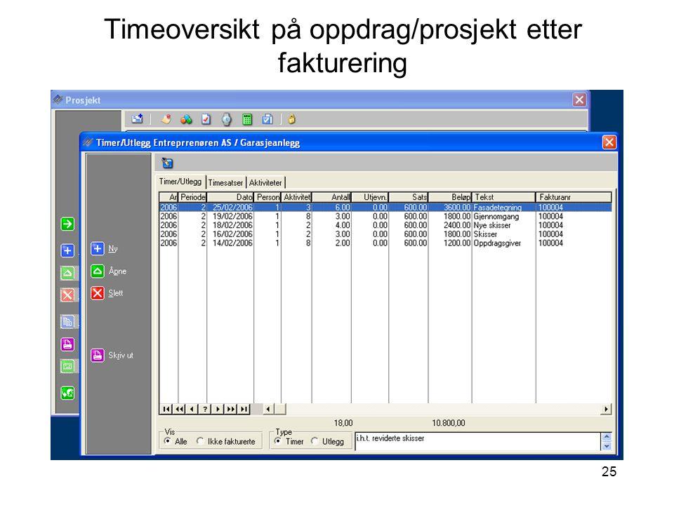 25 Timeoversikt på oppdrag/prosjekt etter fakturering