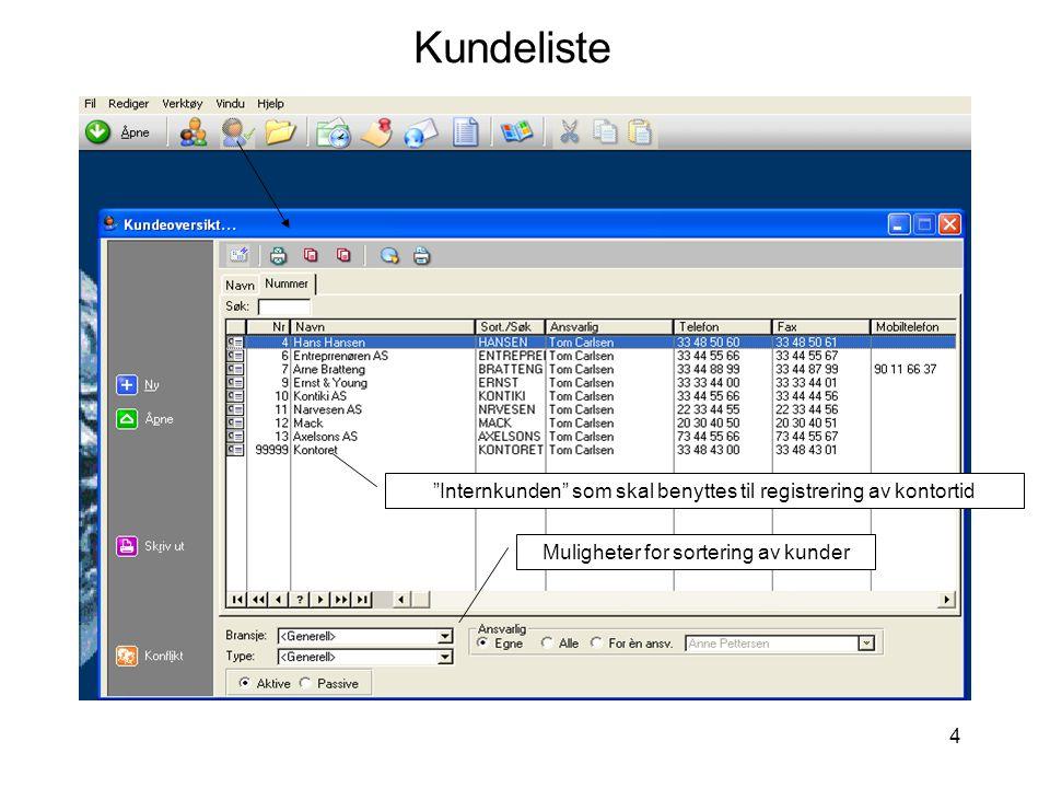 """4 Kundeliste Muligheter for sortering av kunder """"Internkunden"""" som skal benyttes til registrering av kontortid"""