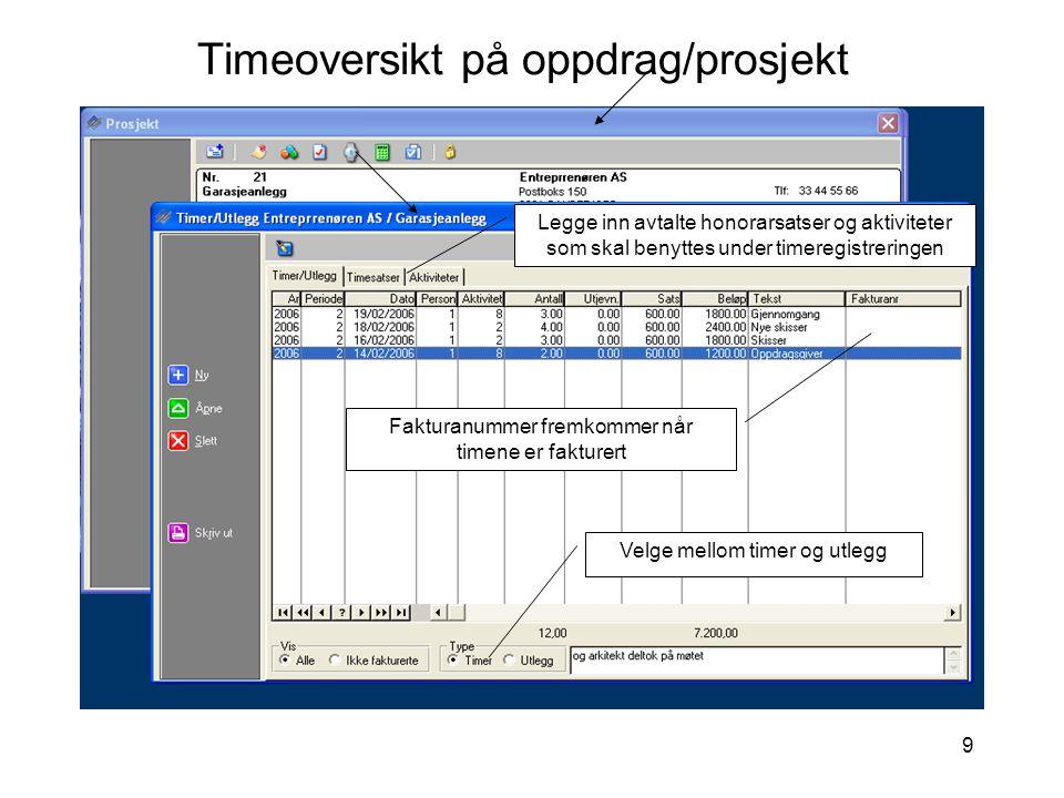 9 Timeoversikt på oppdrag/prosjekt Velge mellom timer og utlegg Legge inn avtalte honorarsatser og aktiviteter som skal benyttes under timeregistrerin